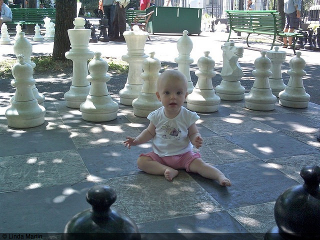 Maia playing chess in Geneva, Switzerland