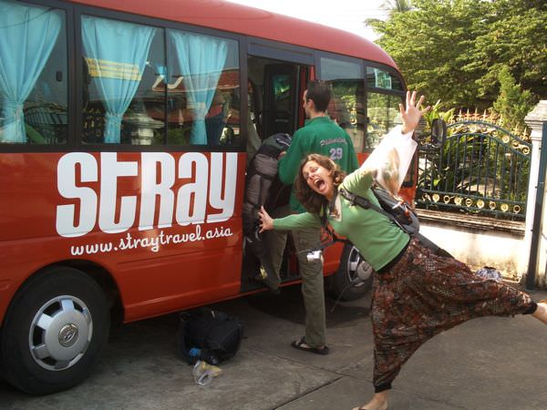 Meeting the Stray Asia bus in Laos