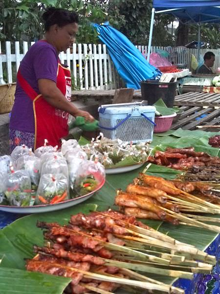 Delicious streetfood at the night markets of Luang Prabang, Laos