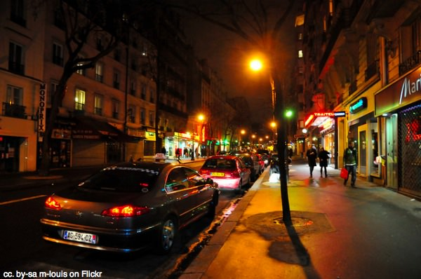 Paris taxi by night