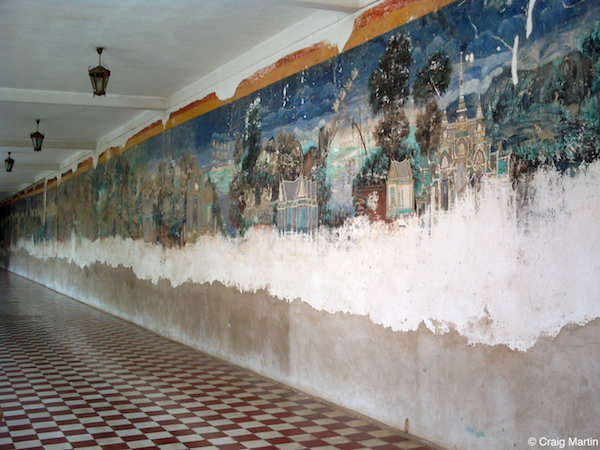 The mural is complete in some sections, damaged in others. Royal Palace, Phnom Penh