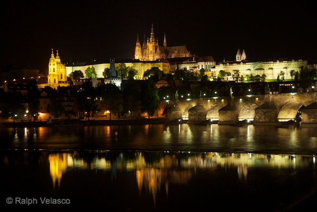 St. Vitus Cathedral and Charles Bridge at Night - Prague, Czech Republic