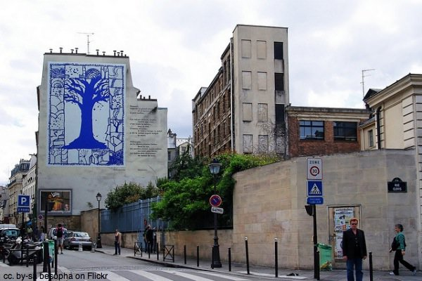 The Blue Tree mural in Paris