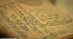 Work visa passport page