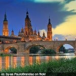 basilica church zaragoza spain bridge river square