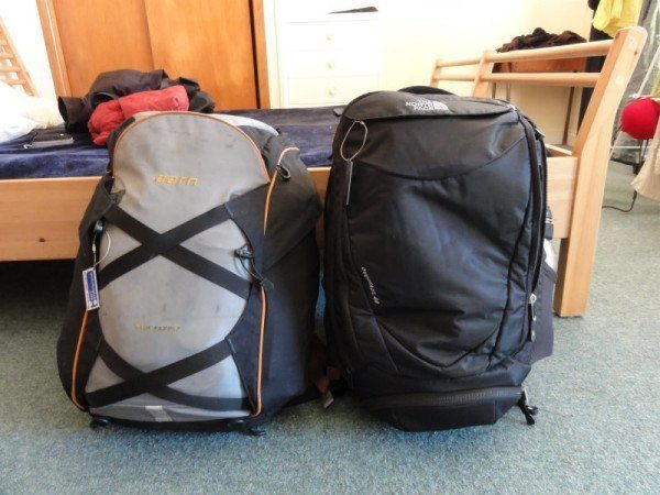 Our backpacks.