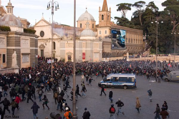 december riots in rome italy - Crowds swell during the riots