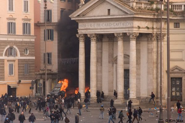 december riots in rome italy - fires flare during the conflict