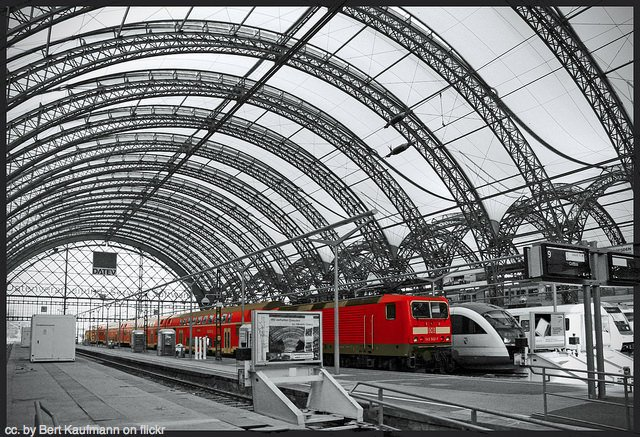 Dresden train station, all grey and red.