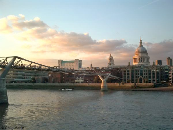london travel guide podcast - millennium bridge and St Pauls Cathedral from South Bank London