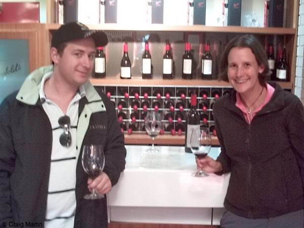 nev and linda taste wine at penfolds winery barossa valley south australia